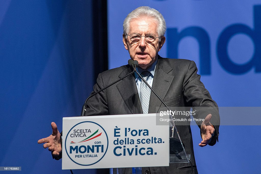 Outgoing Italian Prime Minister <a gi-track='captionPersonalityLinkClicked' href=/galleries/search?phrase=Mario+Monti&family=editorial&specificpeople=632091 ng-click='$event.stopPropagation()'>Mario Monti</a> gestures as he delivers a speech during a campaign rally for his centrist alliance 'With Monit For Italy' (Con Monti Per L'Italia) and the 'Civic Choice' (Scelta Civica) moevemtn on February 15, 2013 in Rome, Italy. Italians will head to the polls on February 24 and 25 to to elect the new Italian Prime Minister.