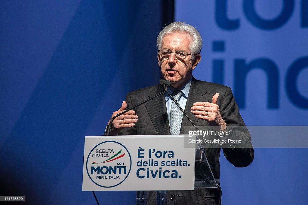 Outgoing Italian Prime Minister <a gi-track='captionPersonalityLinkClicked' href=/galleries/search?phrase=Mario+Monti&family=editorial&specificpeople=632091 ng-click='$event.stopPropagation()'>Mario Monti</a> gestures as he delivers a speech during a campaign rally for his centrist alliance 'With Monit For Italy' (Con Monti Per L'Italia) and the 'Civic Choice' (Scelta Civica) movement on February 15, 2013 in Rome, Italy. Italians will head to the polls on February 24 and 25 to to elect the new Italian Prime Minister.