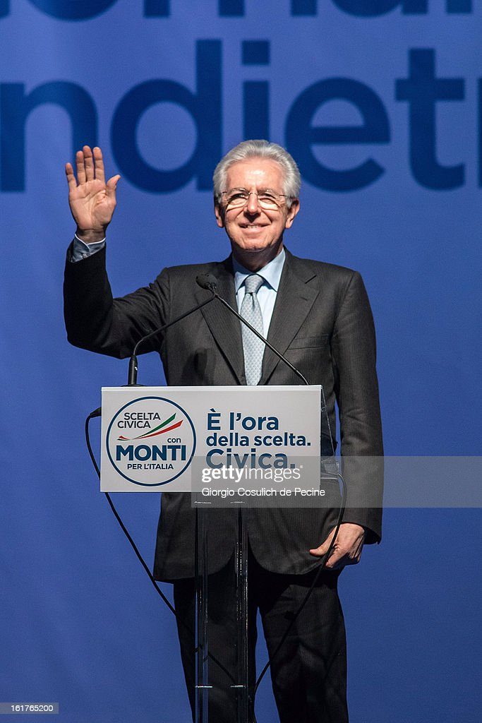 Outgoing Italian Prime Minister <a gi-track='captionPersonalityLinkClicked' href=/galleries/search?phrase=Mario+Monti&family=editorial&specificpeople=632091 ng-click='$event.stopPropagation()'>Mario Monti</a> waves as he delivers a speech during a campaign rally for his centrist alliance 'With Monit For Italy' (Con Monti Per L'Italia) and the 'Civic Choice' (Scelta Civica) moevemtn on February 15, 2013 in Rome, Italy. Italians will head to the polls on February 24 and 25 to to elect the new Italian Prime Minister.