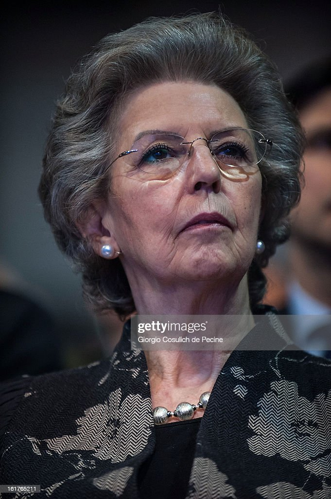 Outgoing Italian Prime Minister Mario Monti's wife, Elsa Antonioli attends a campaign rally for the centrist alliance 'With Monit For Italy' (Con Monti Per L'Italia) and the 'Civic Choice' (Scelta Civica) movement on February 15, 2013 in Rome, Italy. Italians will head to the polls on February 24 and 25 to to elect the new Italian Prime Minister.