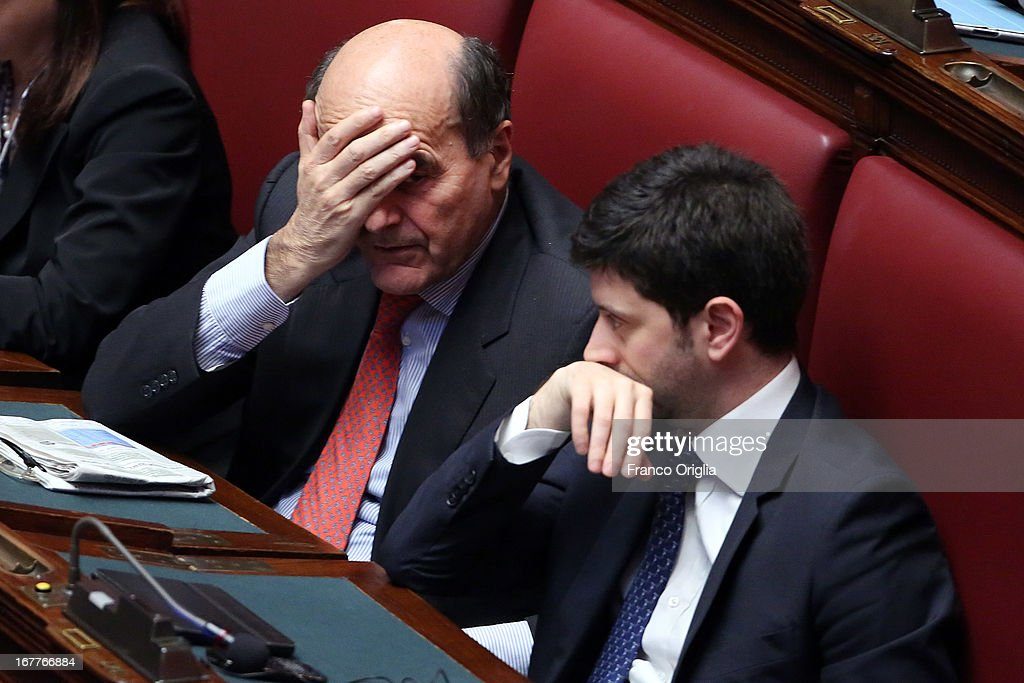 Outgoing Italy's Democratic Party general secretary Pier Luigi Bersani and Democratic Party leader at the Chambers of Deputies Roberto Speranza...
