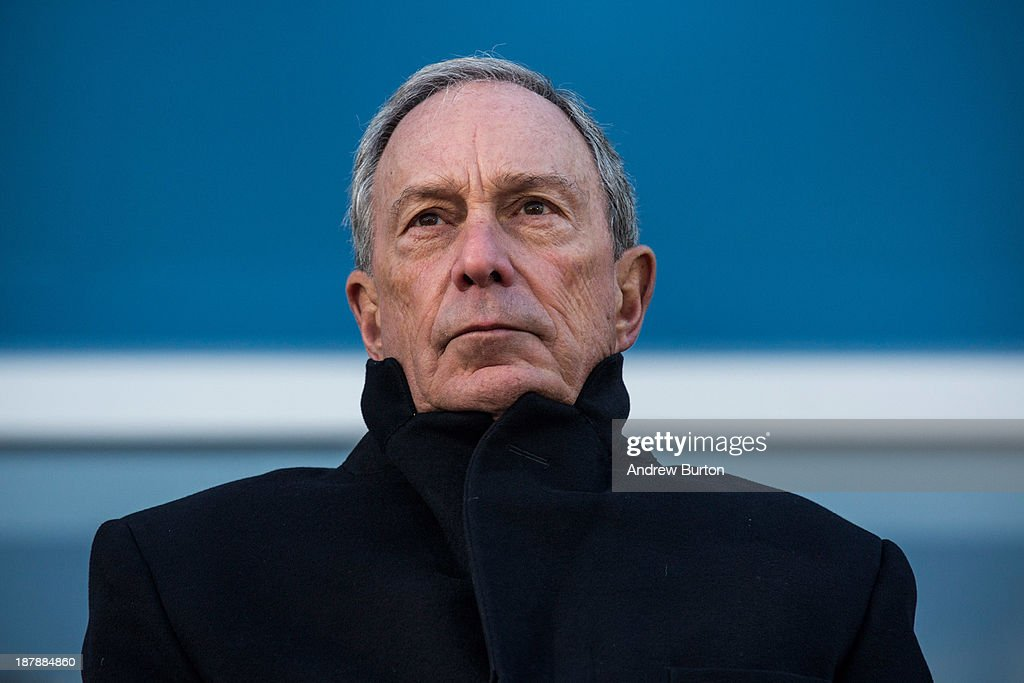 Outgoing Mayor of New York City <a gi-track='captionPersonalityLinkClicked' href=/galleries/search?phrase=Michael+Bloomberg&family=editorial&specificpeople=171685 ng-click='$event.stopPropagation()'>Michael Bloomberg</a> speaks at the opening ceremony of Four World Trade Center, the first tower to open at the original site of the World Trade Center, on November 13, 2013 in New York City. The building was designed by Fumihiko Maki, has 72 floors, is 978 feet tall and offers 2,500,000 square feet of space.