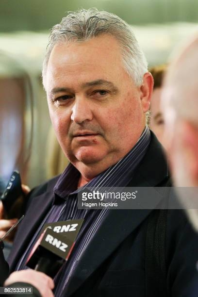 Outgoing NZ First MP Richard Prosser speaks to media as coalition discussions continue at Parliament on October 18 2017 in Wellington New Zealand...