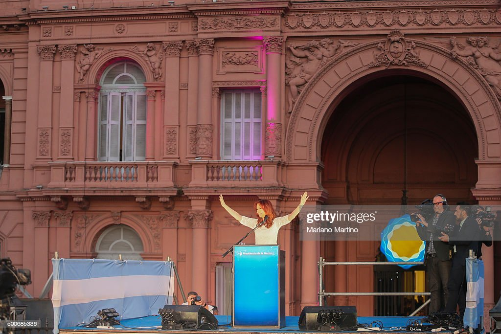 Outgoing President of Argentina Cristina Fernandez de Kirchner gives a farewell speech at Casa Rosada on December 09 2015 in Buenos Aires Argentina...