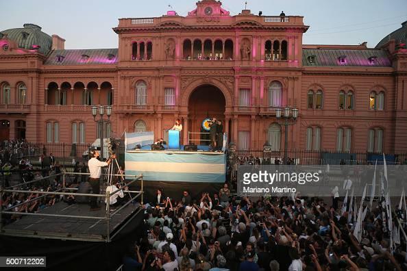 Outgoing President of Argentina Cristina Fernandez de Kirchner gives a farewell speech at Casa Rosada on December 09 2015 in Buenos Aires Argentina...
