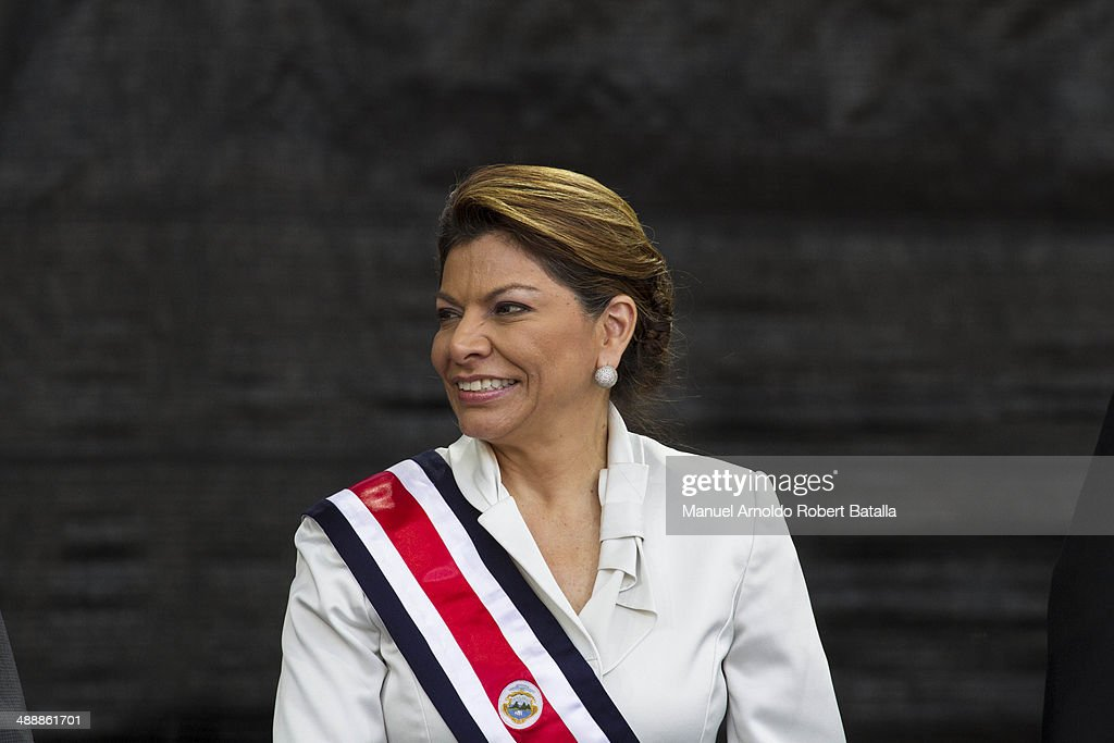 Outgoing president of Costa Rica Laura Chinchilla attends the Inauguration Day of Costa Rica's elected President Luis Guillermo Solis at National...
