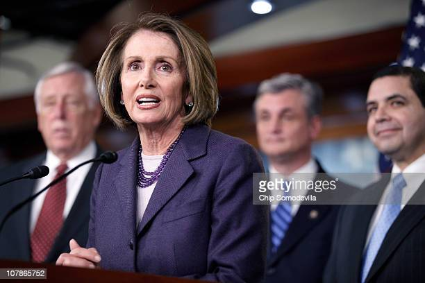 Outgoing Speaker of the House Nancy Pelosi holds a news conference with Majority Leader Steny Hoyer Rep Rob Andrews and Rep Henry Cuellar in the US...