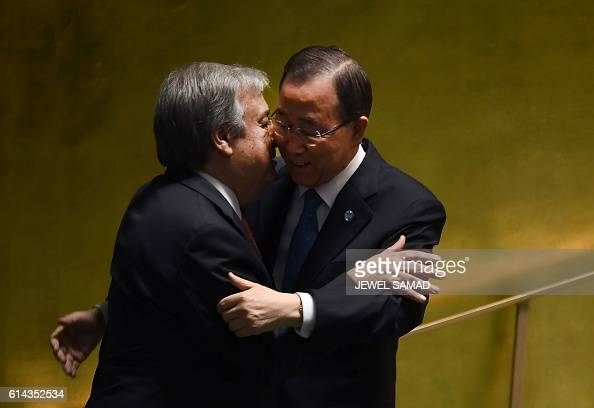 Outgoing UN SecretaryGeneral Ban Kimoon embraces SecretaryGeneraldesignate Antonio Guterres during the ceremony for the appointment of the...