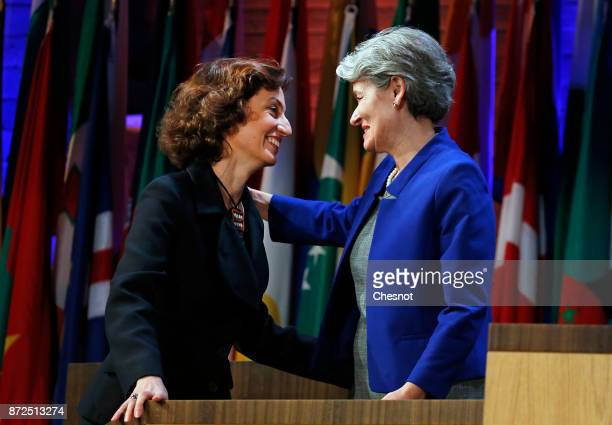 Outgoing United Nations Educational Scientific and Cultural Organization Director General Irina Bokova embraces newly nominated Director General...