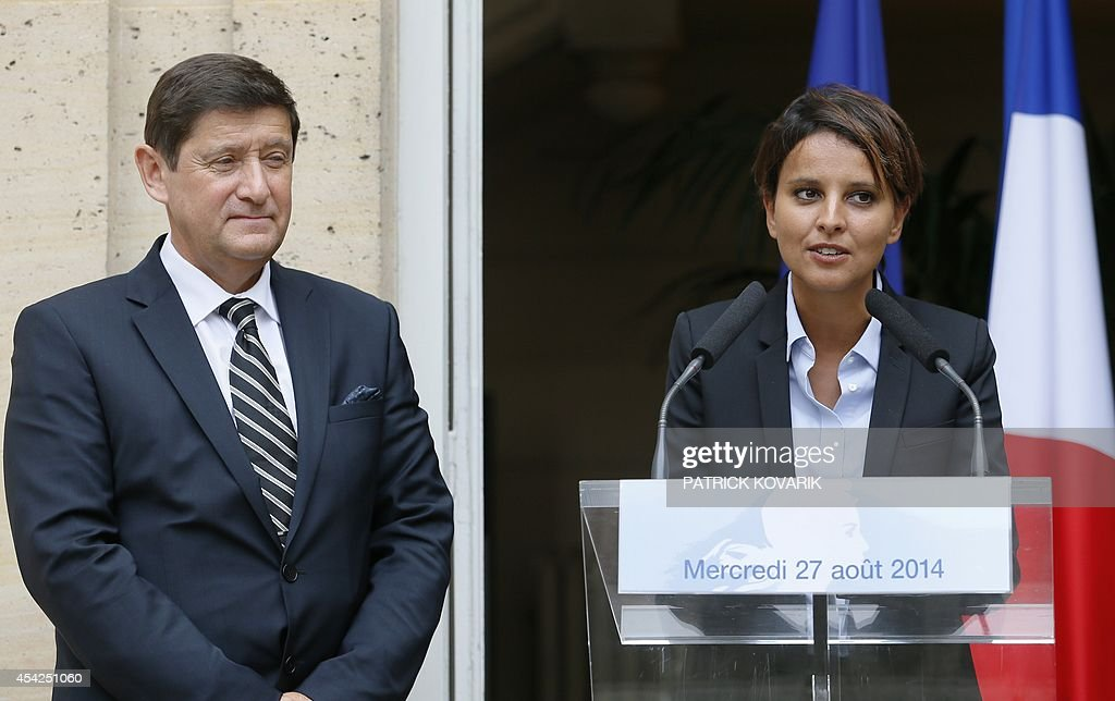 Outgoing Urban Affairs and Sports Minister Najat Vallaud-Belkacem (R) delivers a speech beside newly appointed successor Patrick Kanner during a handover ceremony on August 27, 2014 in Paris. Vallaud-Belkacem has been appointed National Education minister.