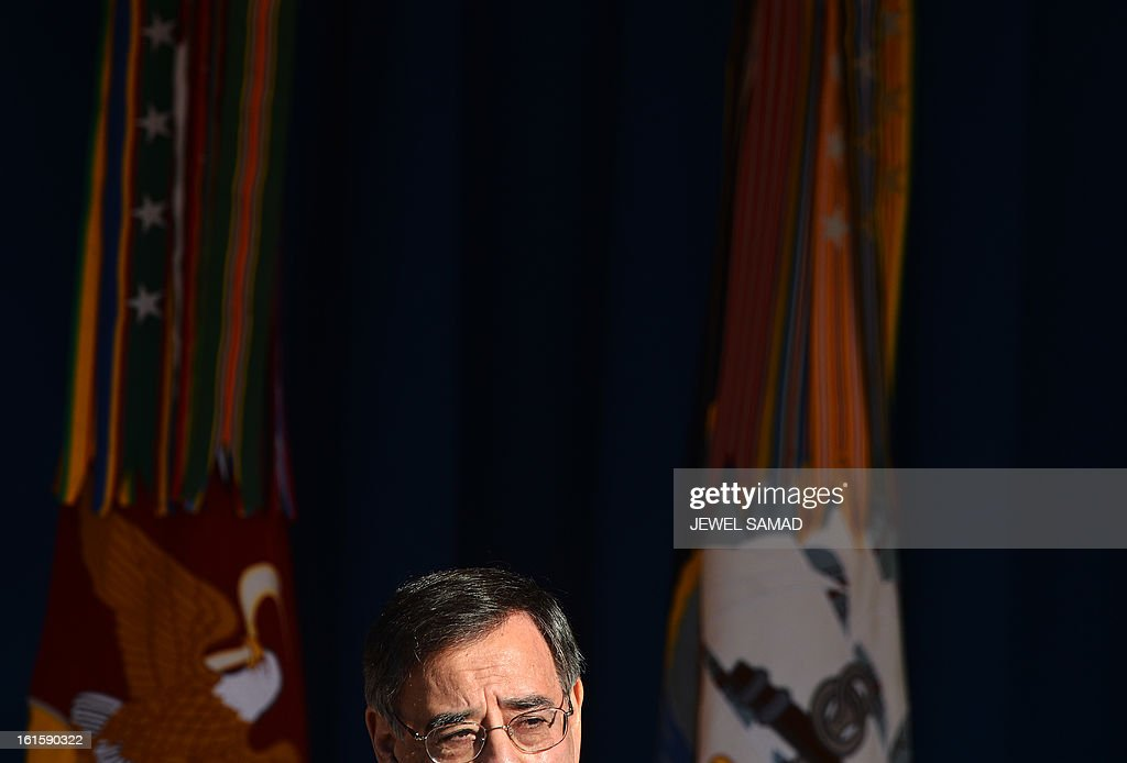 Outgoing US Secretary of Defense Leon Panetta gives a farewell address to the Pentagon community at the Pentagon in Washington, DC, on February 12, 2013. North Korea is a 'serious threat' to the US and Washington must be prepared to deal with it, Panetta warned Tuesday after Pyongyang conducted a nuclear test. Panetta's comments came after North Korea announced it had tested a 'miniaturized' device in its third nuclear test. US intelligence confirmed that North Korea probably conducted an underground nuclear explosion with a yield of several kilotons. AFP PHOTO/Jewel Samad
