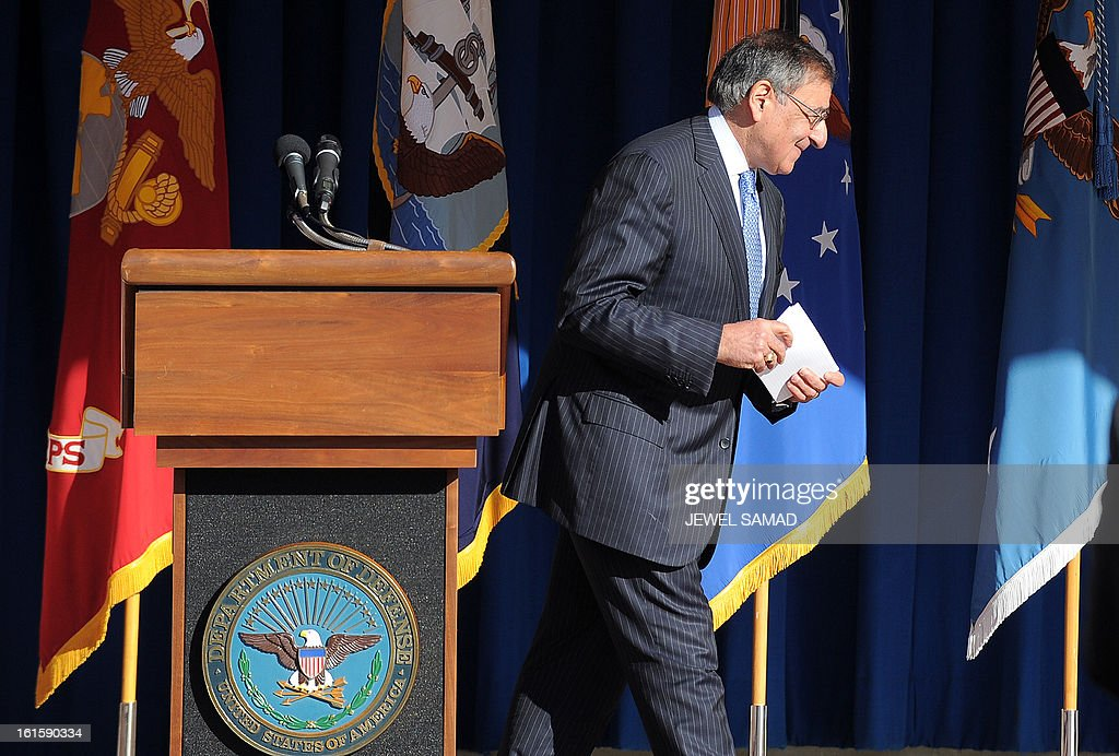 Outgoing US Secretary of Defense Leon Panetta leaves after giving a farewell address to the Pentagon community at the Pentagon in Washington, DC, on February 12, 2013. North Korea is a 'serious threat' to the US and Washington must be prepared to deal with it, Panetta warned Tuesday after Pyongyang conducted a nuclear test. Panetta's comments came after North Korea announced it had tested a 'miniaturized' device in its third nuclear test. US intelligence confirmed that North Korea probably conducted an underground nuclear explosion with a yield of several kilotons. AFP PHOTO/Jewel Samad