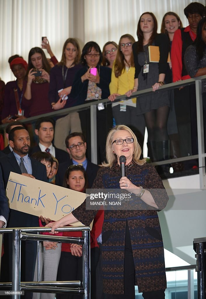 Outgoing US Secretary of State Hillary Clinton speaks to State Department employees on February 1, 2013 in Washington, DC. Clinton bid a final farewell to her staff Friday, but her last day was marred by a suicide bomber blew himself up at the US embassy in Ankara. AFP PHOTO/Mandel NGAN