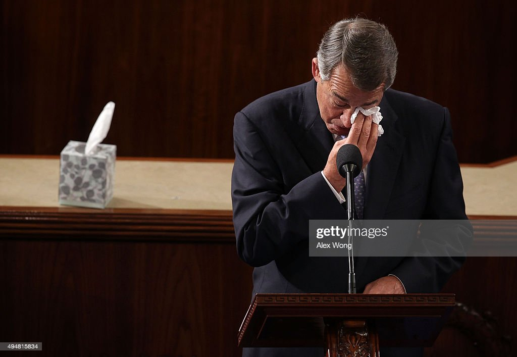 Outgoing U.S. Speaker of the House Rep. <a gi-track='captionPersonalityLinkClicked' href=/galleries/search?phrase=John+Boehner&family=editorial&specificpeople=274752 ng-click='$event.stopPropagation()'>John Boehner</a> (R-OH) wipes his eye as he gives his farewell speech in the House Chamber of the Capitol October 29, 2015 on Capitol Hill in Washington, DC. The House of Representatives is scheduled to vote for a new speaker to succeed Boehner today.