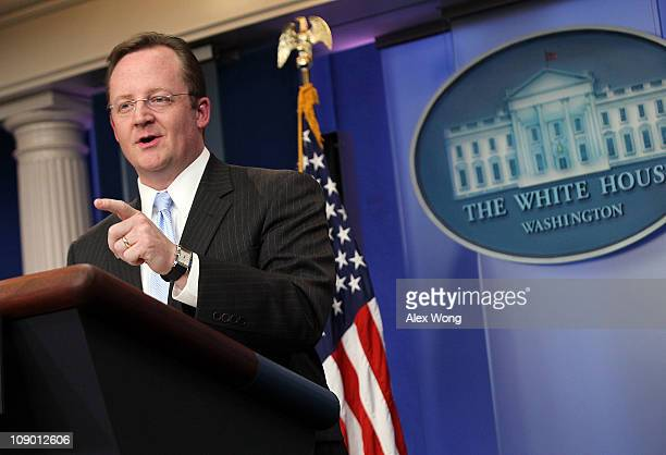 Outgoing White House Press Secretary Robert Gibbs gestures as he speaks during his last daily press briefing February 11 2011 at the White House in...
