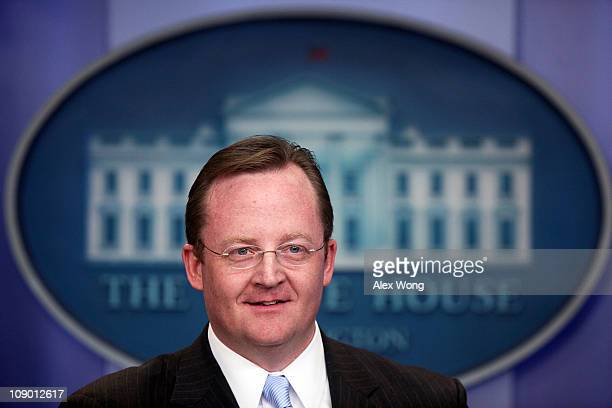 Outgoing White House Press Secretary Robert Gibbs speaks during his last daily press briefing February 11 2011 at the White House in Washington DC...