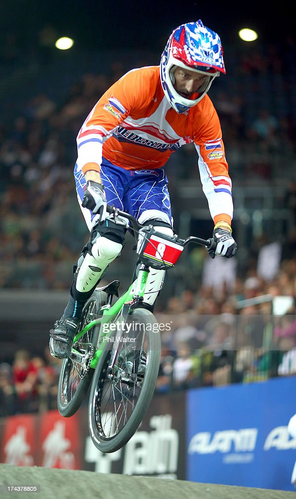 Outi Leinonen of Finland in action during day two of the UCI BMX World Championships at Vector Arena on July 25, 2013 in Auckland, New Zealand.