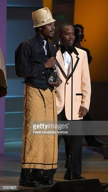 Outkast accept the award for 'Band of the Year' on the 2002 GQ Men of the Year Awards at Hammerstein Ballroom in New York City October 16 2002 Photo...
