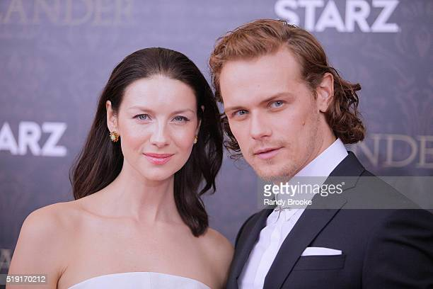 Outlander actors Caitriona Balfe and Sam Heughan attend the Season Two World Premiere at the American Museum of Natural History on April 4 2016 in...