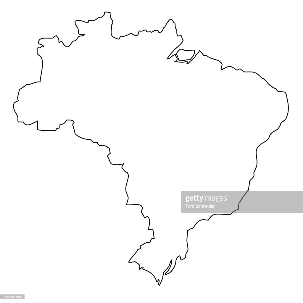 outline map of brazil stock photo getty images