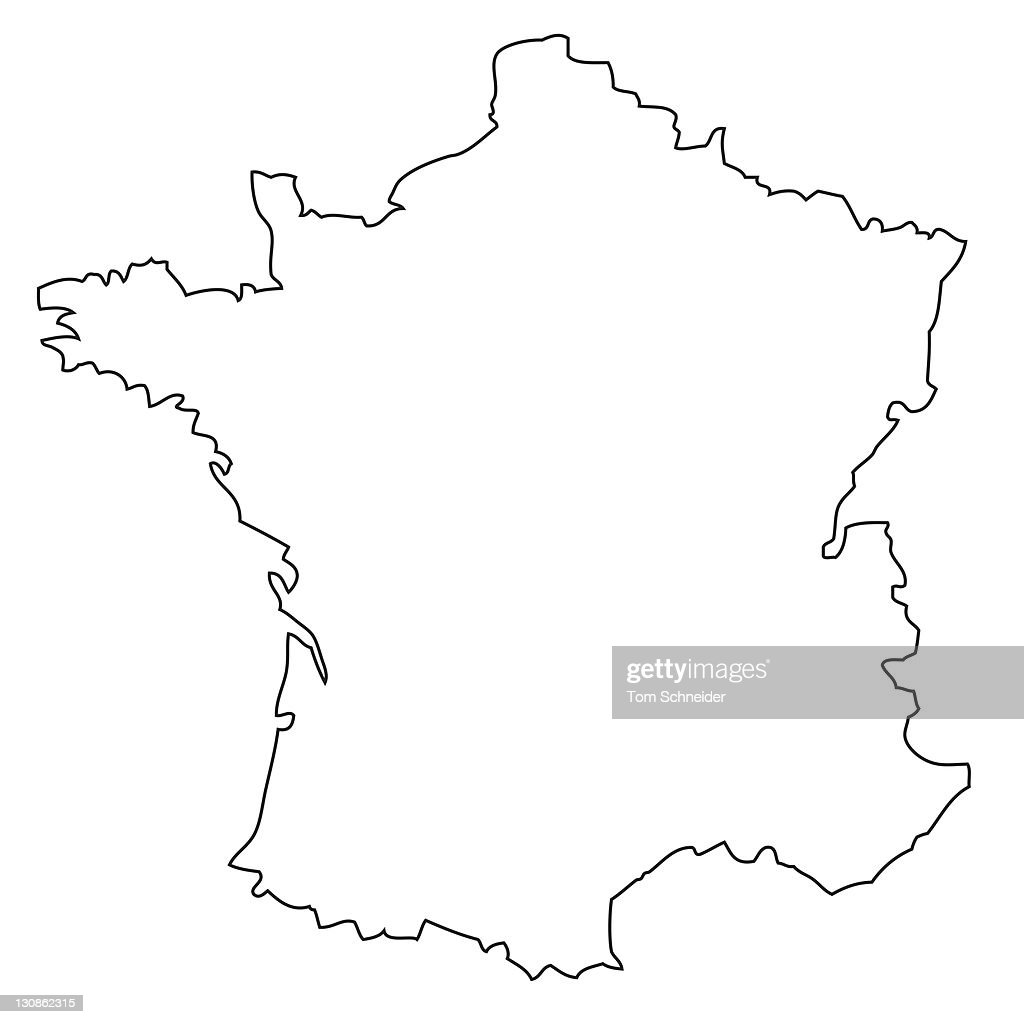 Outline, map of France : Stock Photo