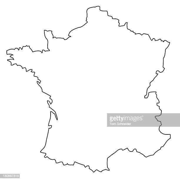 Outline, map of France