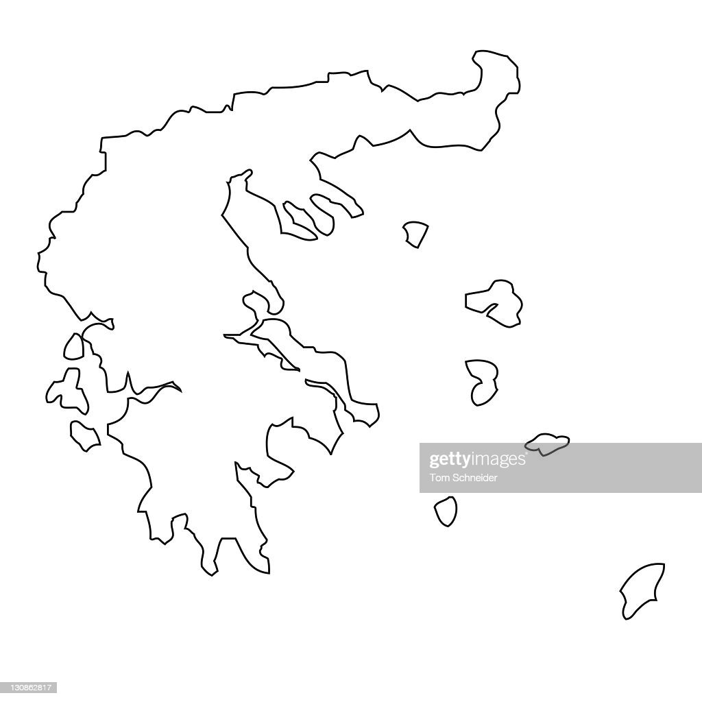 outline map of greece stock photo getty images