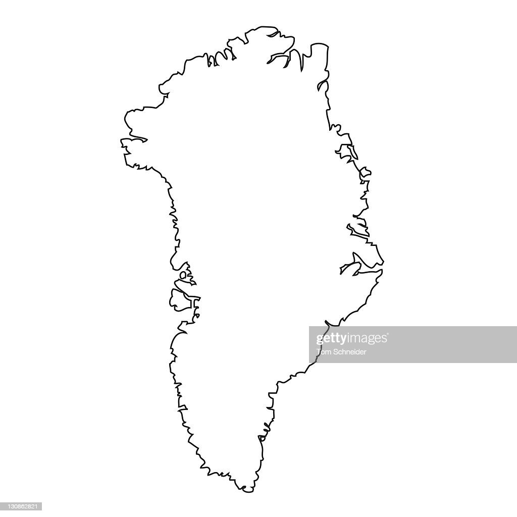 outline map of greenland stock photo getty images