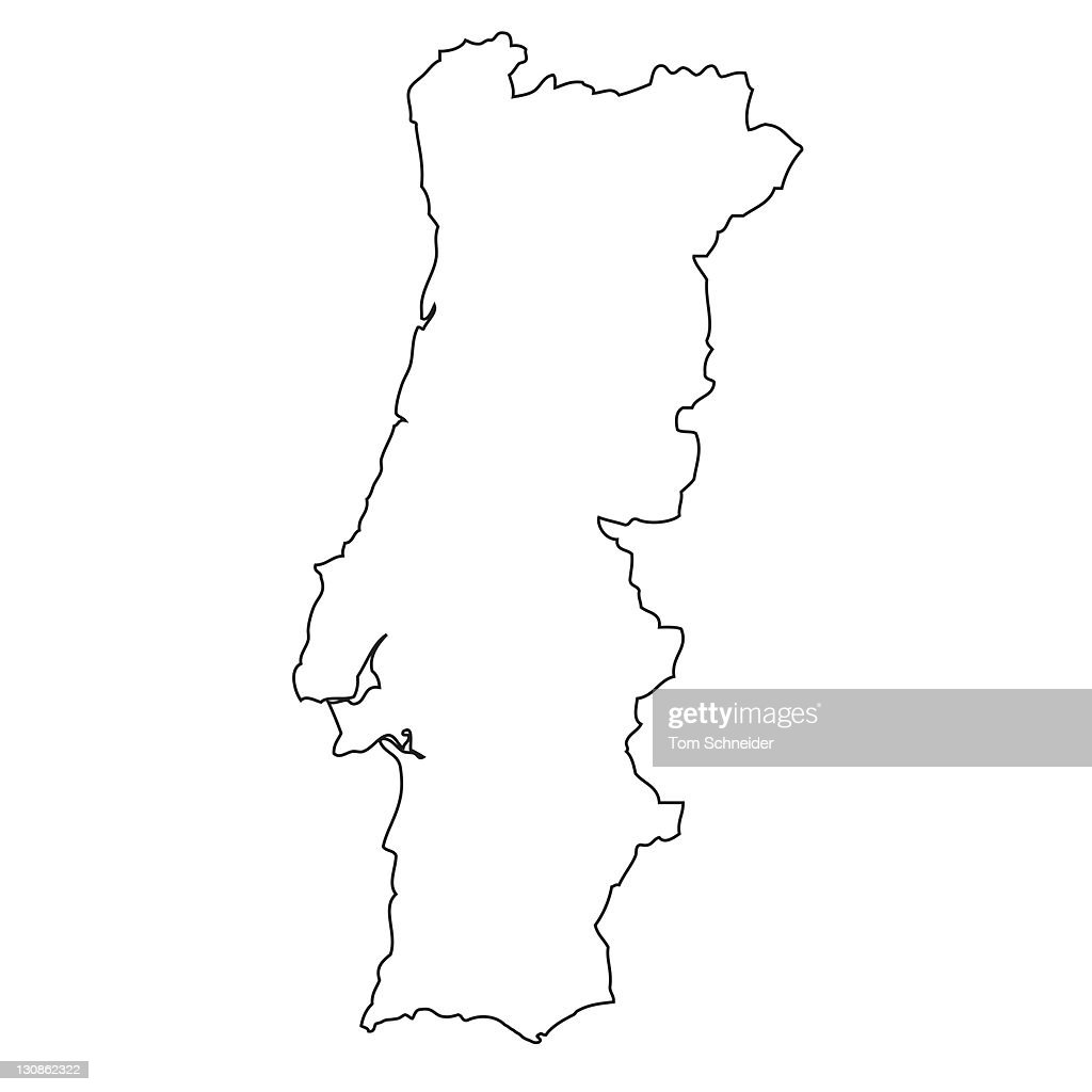 outline map of portugal stock photo getty images