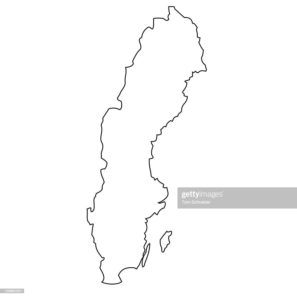 Outline Map Of Sweden Stock Photo Getty Images - Sweden map outline