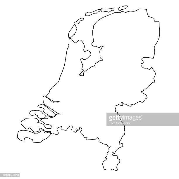 Outline, map of the Netherlands