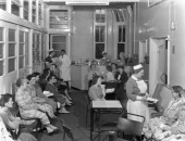 Outpatients awaiting treatement at the Montague Hospital Mexborough South Yorkshire 1959 The hospital was founded in 1889 after a campaign by Dr...
