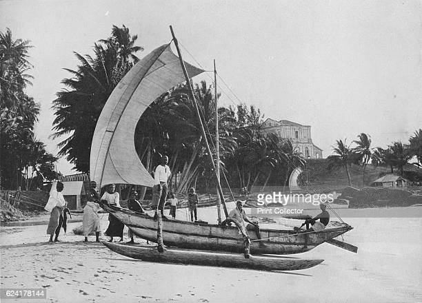Outrigger Fishing Canoe at Mount Lavinia Sea Shore' c1890 From The Hundred Best Views of Ceylon [Plâté Ltd Colombo Kandy Nuwara Eliya 1910] Artist...