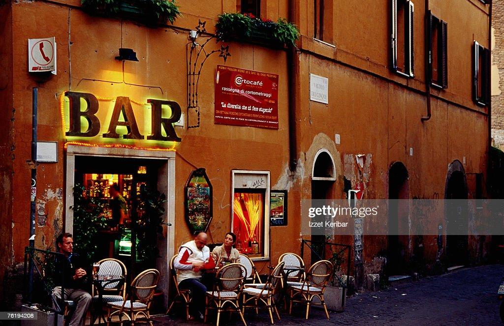 Outside bar at Trastevere, Rome, Lazio, Italy, Europe : Stock Photo