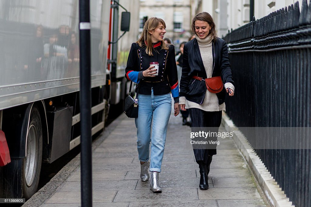 outside Daks during London Fashion Week AW16 on February 19, 2016 in London, England, United Kingdom.