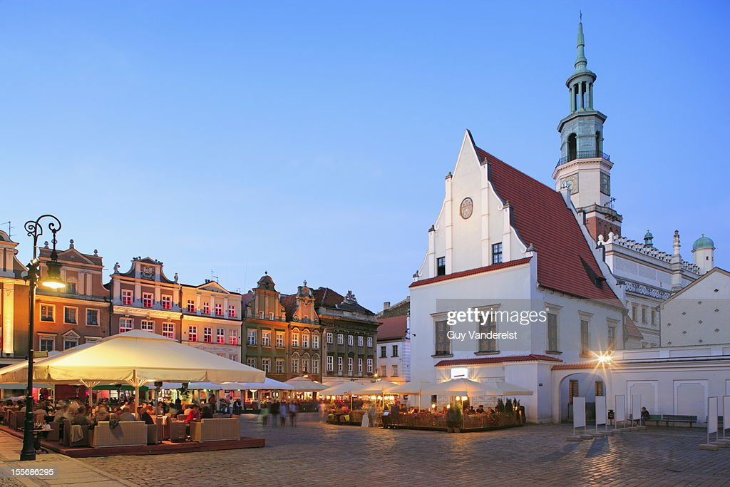 Outside Dining Old Market Square Poznan Poland Stock Photo