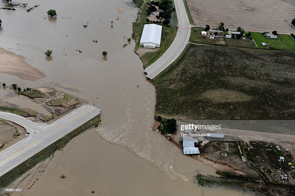 U.S.34 outside Greeley ripped apart by the South Platte River. Aerial photographs of the South Platte River flooding cities and farms in Weld County Colorado.