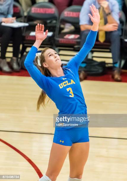 UCLA outside hitter Reily Buechler gets set to go up for a hit during the regular match between the UCLA Bruins and the Stanford Cardinals on...