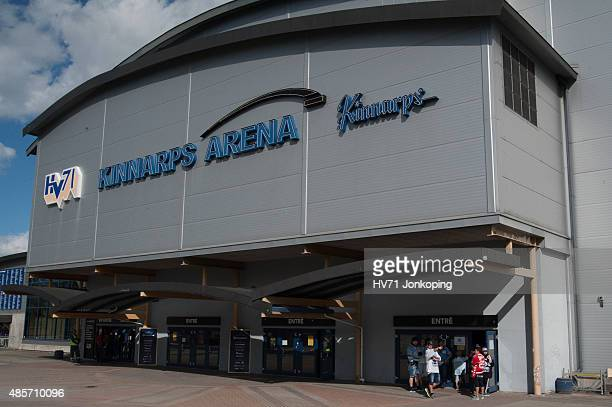 Outside Kinnarps Arena during the Champions Hockey League group stage game between HV71 Jonkoping and SonderjyskE Vojens on August 29 2015 in...