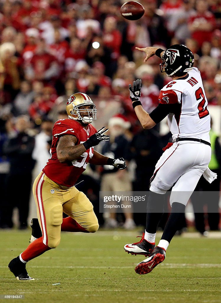 Outside linebacker <a gi-track='captionPersonalityLinkClicked' href=/galleries/search?phrase=Ahmad+Brooks&family=editorial&specificpeople=2326499 ng-click='$event.stopPropagation()'>Ahmad Brooks</a> #55 of the San Francisco 49ers pressures quarterback Matt Ryan #2 of the Atlanta Falcons during a game at Candlestick Park on December 23, 2013 in San Francisco, California.