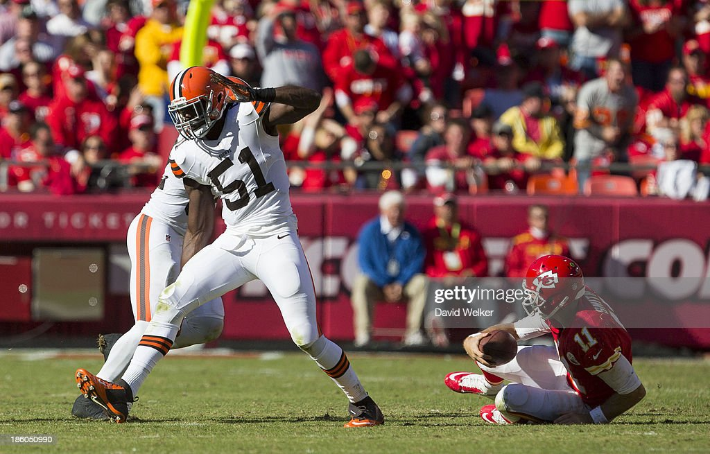 Outside linebacker Barkevious Mingo of the Cleveland Browns celebrates after sacking quarterback Alex Smith of the Kansas City Chiefs during the game...