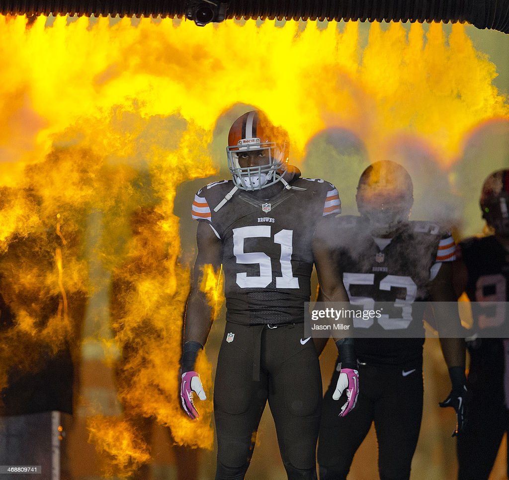 Outside linebacker Barkevious Mingo of the Cleveland Browns runs onto the field during player introductions prior to the game against the Buffalo...