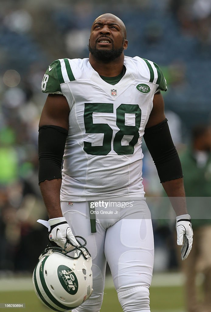 Outside linebacker Bryan Thomas of the New York Jets looks on prior to the game against the Seattle Seahawks at CenturyLink Field on November 11 2012...