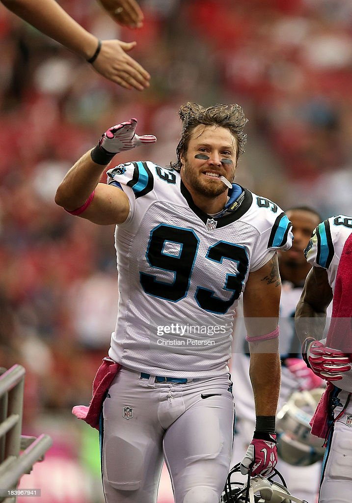 Outside linebacker Chase Blackburn of the Carolina Panthers runs off the field during the NFL game against the Arizona Cardinals at the University of...