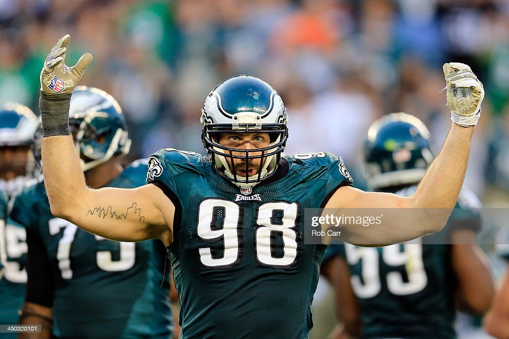 Outside linebacker <a gi-track='captionPersonalityLinkClicked' href=/galleries/search?phrase=Connor+Barwin&family=editorial&specificpeople=4630663 ng-click='$event.stopPropagation()'>Connor Barwin</a> #98 of the Philadelphia Eagles reacts to the crowd against the Washington Redskins at Lincoln Financial Field on November 17, 2013 in Philadelphia, Pennsylvania.