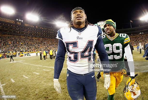 Outside linebacker Dont'a Hightower of the New England Patriots walks off the field following the NFL game against the Green Bay Packers at Lambeau...