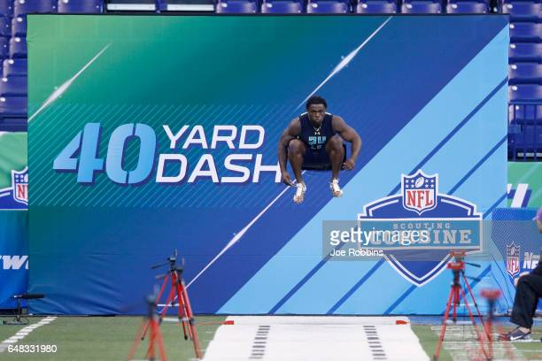 Outside linebacker Jabrill Peppers of Michigan prepares to run the 40yard dash during day five of the NFL Combine at Lucas Oil Stadium on March 5...