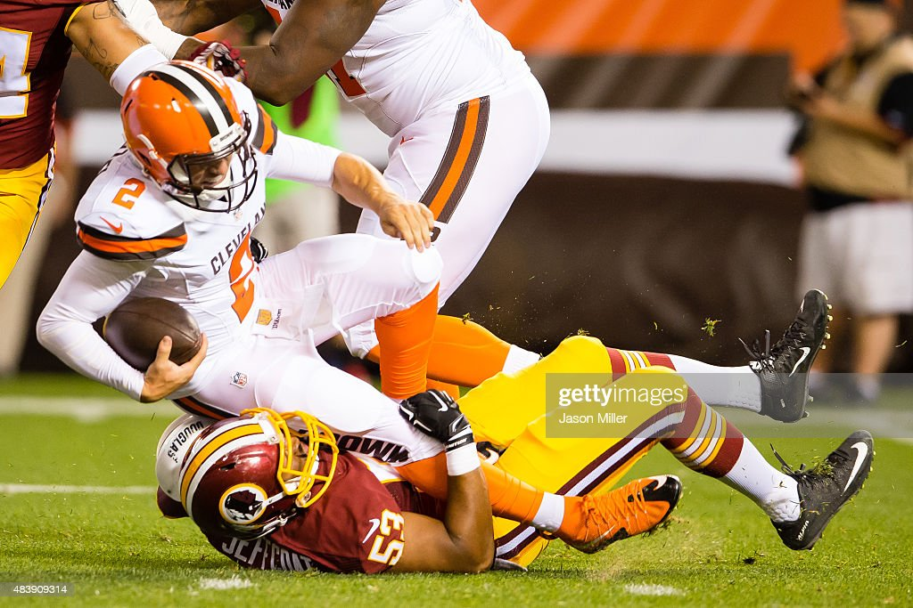 Outside linebacker Jackson Jeffcoat #53 of the Washington Redskins sacks quarterback Johnny Manziel #2 of the Cleveland Browns during the first half at FirstEnergy Stadium on August 13, 2015 in Cleveland, Ohio.
