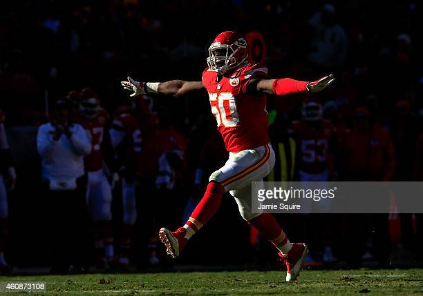 Outside linebacker Justin Houston of the Kansas City Chiefs reacts after making a sack during the first half of the game against the San Diego...
