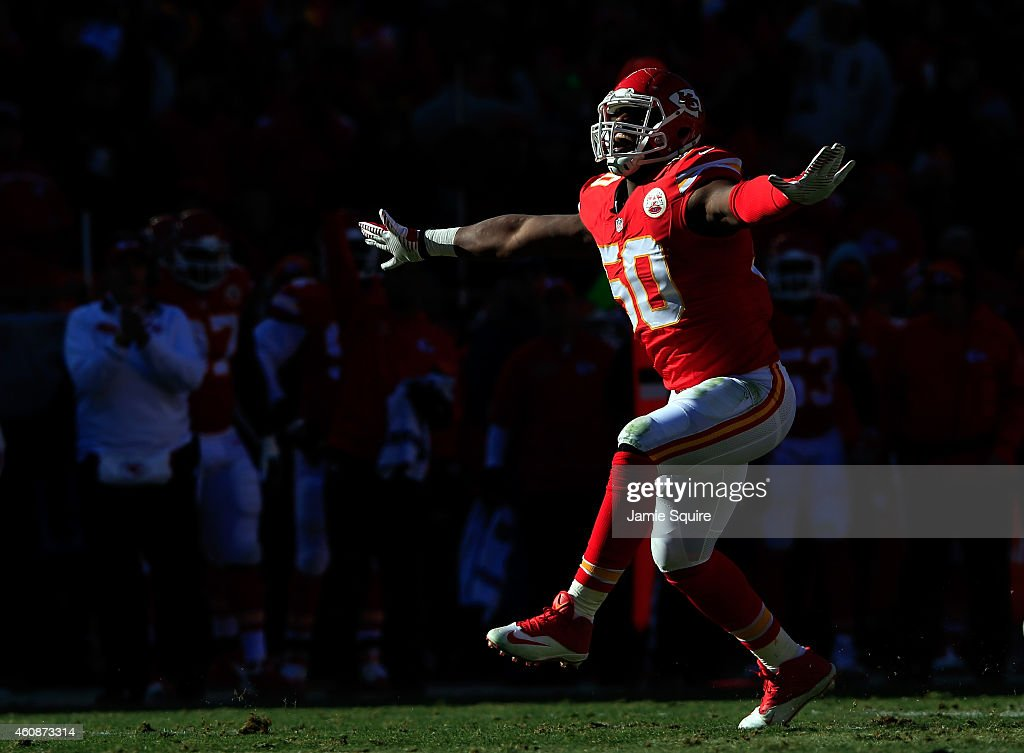 Outside linebacker <a gi-track='captionPersonalityLinkClicked' href=/galleries/search?phrase=Justin+Houston&family=editorial&specificpeople=5541929 ng-click='$event.stopPropagation()'>Justin Houston</a> #50 of the Kansas City Chiefs reacts after sacking quarterback <a gi-track='captionPersonalityLinkClicked' href=/galleries/search?phrase=Philip+Rivers&family=editorial&specificpeople=212885 ng-click='$event.stopPropagation()'>Philip Rivers</a> #17 of the San Diego Chargers during the first half of the game at Arrowhead Stadium on December 28, 2014 in Kansas City, Missouri.